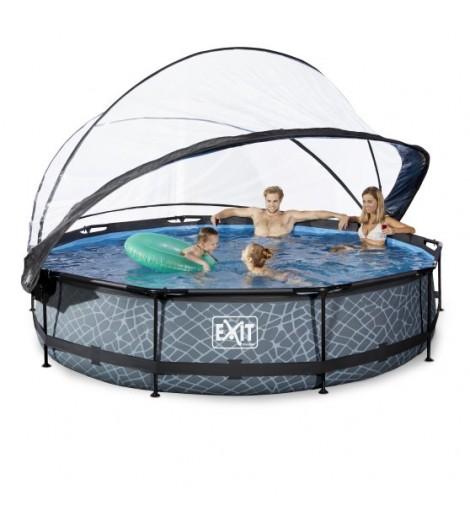 EXIT Stein Pool Ø360x76 cm mit Abdeckung und Filterpumpe - grau