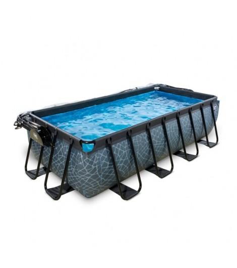 EXIT Stein Pool 400x200x100 cm mit Abdeckung und Sandfilterpumpe - grau