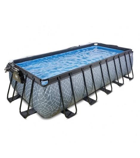 EXIT Stein Pool 540x250x122 cm mit Abdeckung und Sandfilterpumpe - grau