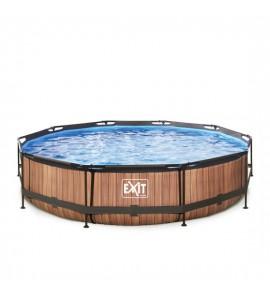 EXIT Pool Holz-Optik Ø360x76 cam mit Filterpumpe