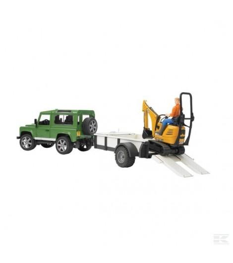 Land Rover mit Anhänger+Bagger