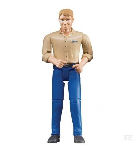 Mann mit blauer Hose